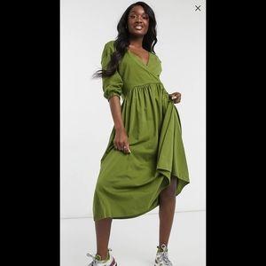 ASOS Midi Smock Dress Wrap Top in Olive Green